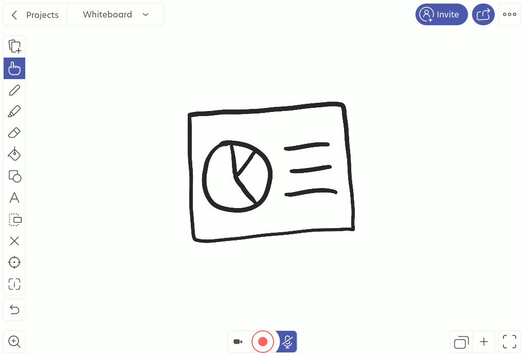 Screenshot of the Explain Everything whiteboard tool with its function buttons