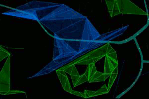 Screenshot of Ingress showing a map view of a green jack-o-lantern with a blue witch hat