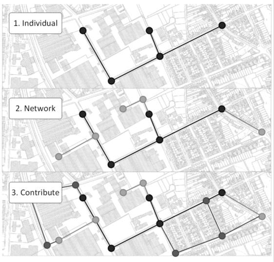 Three networks in the same city area with an increasing number of nodes and details