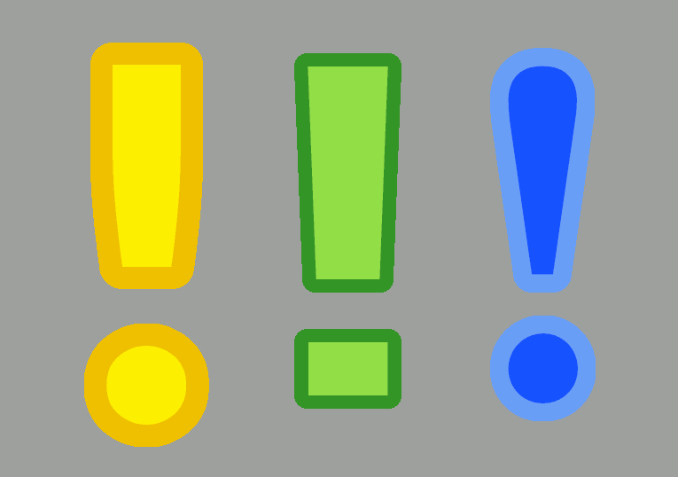 Three bright exclamation marks in yellow, green and blue